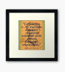 Corporation - Bierce Framed Print