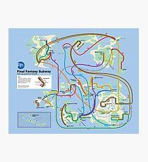 Final Fantasy Subway - NES Maps Series Photographic Print