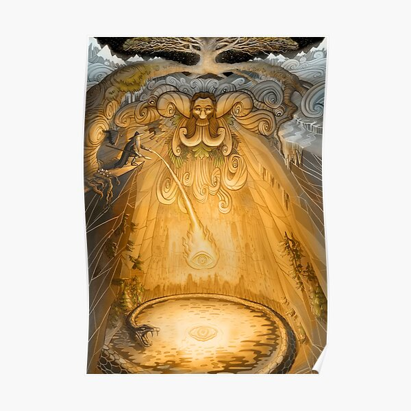 Odin Sacrificing His Eye At the Well Of Mimir Poster