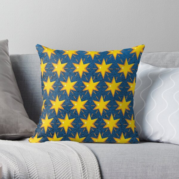 Gold stars drawings on blue sky Throw Pillow