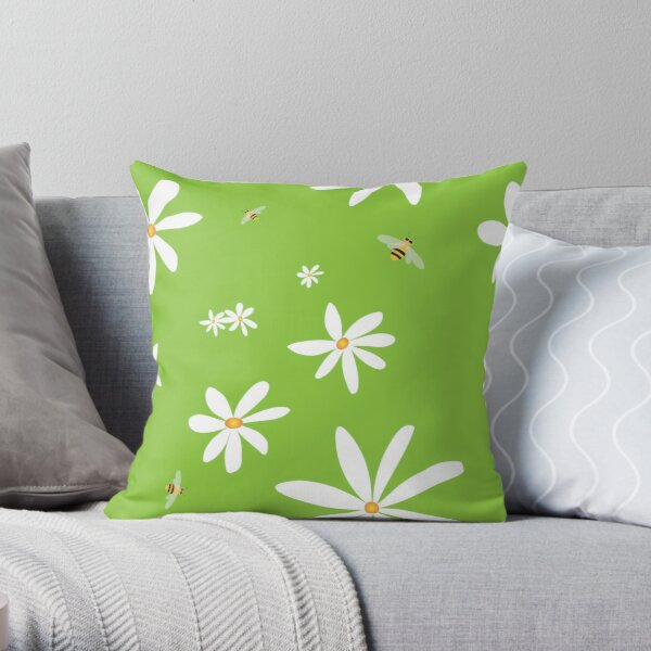 Daisies And Bees on Green Throw Pillow