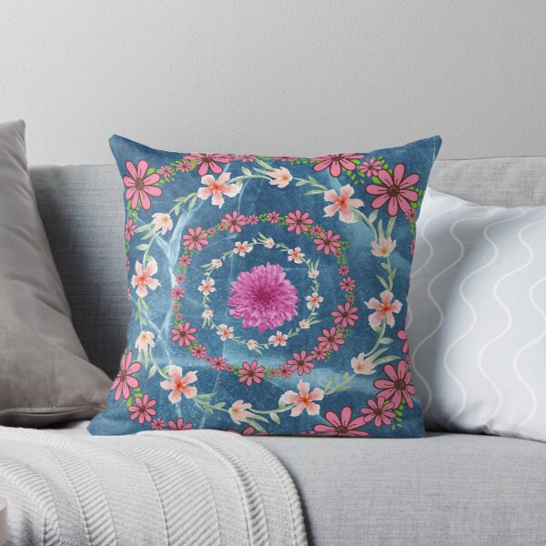 Rings of Flowers Throw Pillow