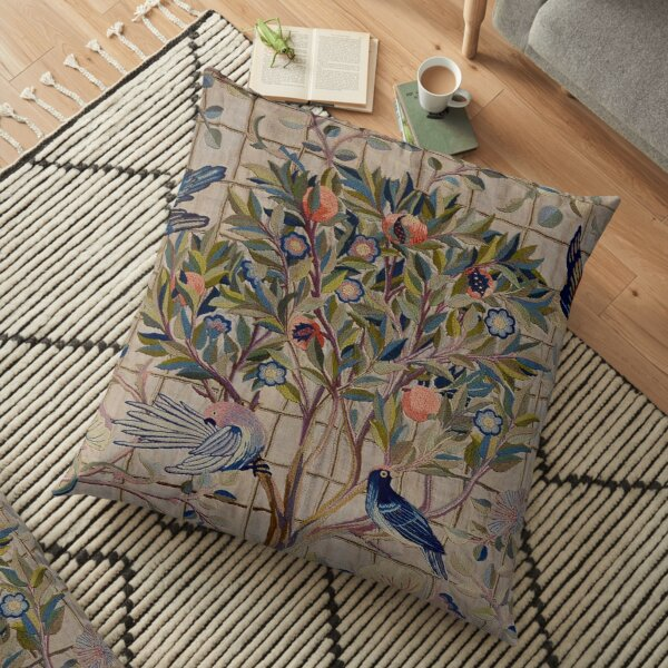 William Morris Kelmscott Trellis Embroidery Floor Pillow