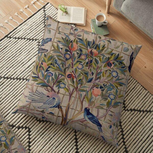 William Morris Kelmscott Trellis Embroidery Floor Pillow