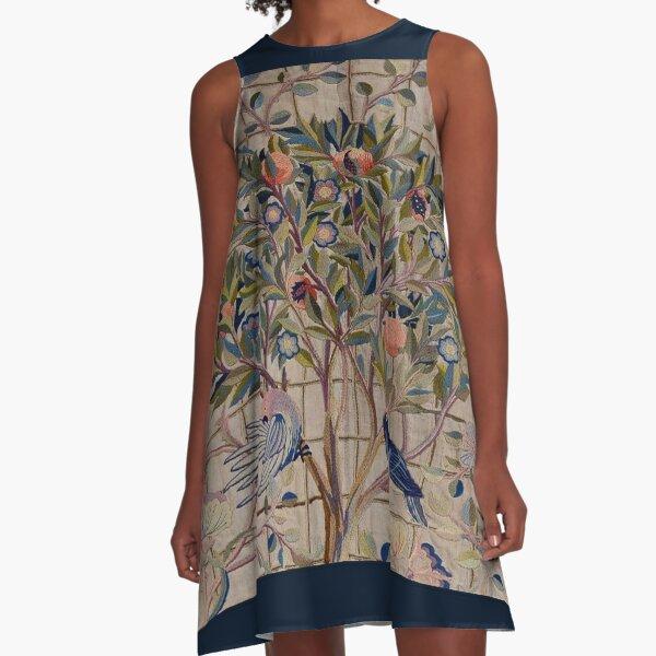 William Morris Kelmscott Trellis Embroidery A-Line Dress