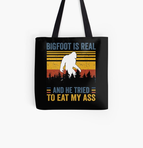 Burgundy Witchy Ass Pussy Graphic Print Tote Gold