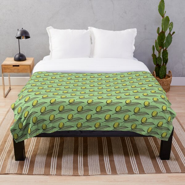 Green Olives With Leaves On A Leaf Green Background Throw Blanket
