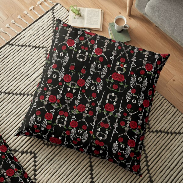 Skeletons and Roses Floor Pillow