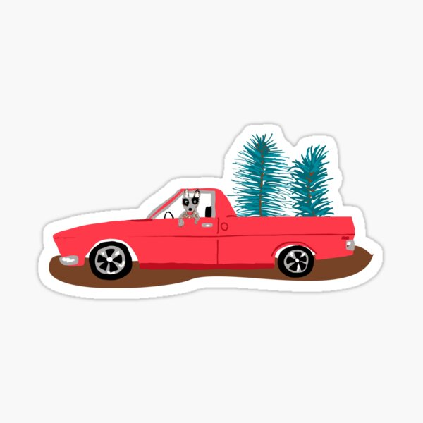 Holden HQ Ute with Christmas Trees Sticker