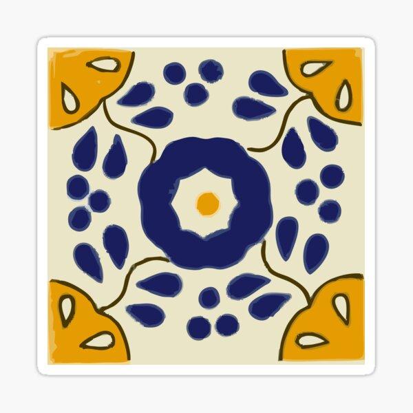 Talavera Blue Flower with Gold  Sticker