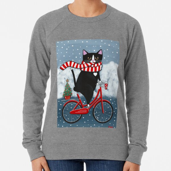 Tuxedo Cat Winter Bicycle Ride Lightweight Sweatshirt
