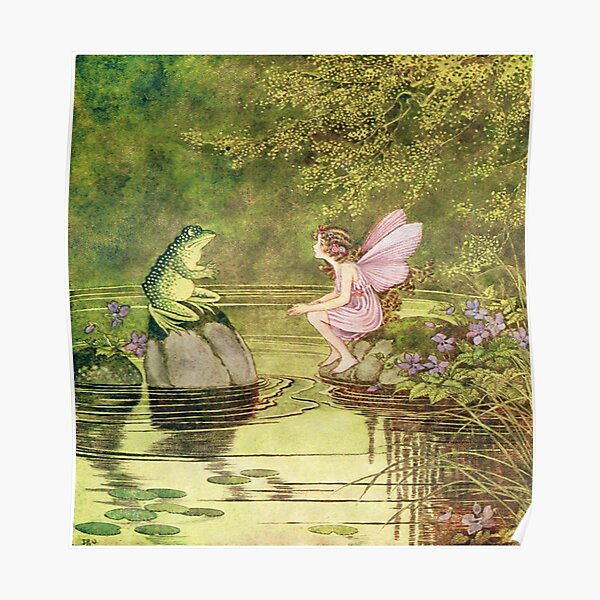 Frogs and Fairies, Fairy Vintage Artwork Poster