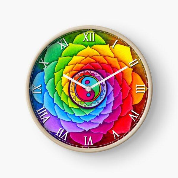 Healing Lotus Rainbow Yin Yang Psychedelic Mandala Clock