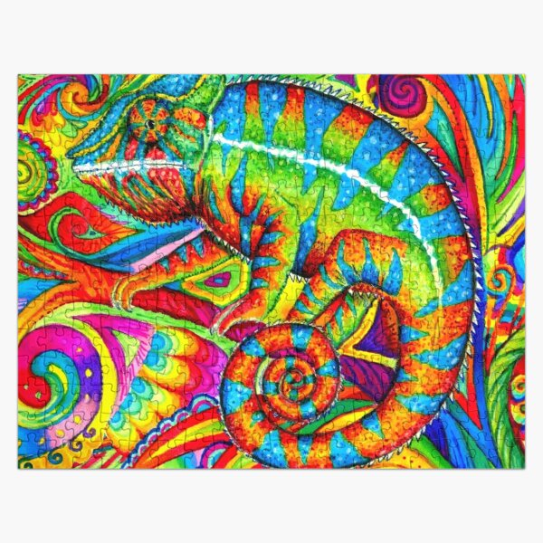 Psychedelizard Psychedelic Chameleon Colorful Rainbow Lizard Jigsaw Puzzle