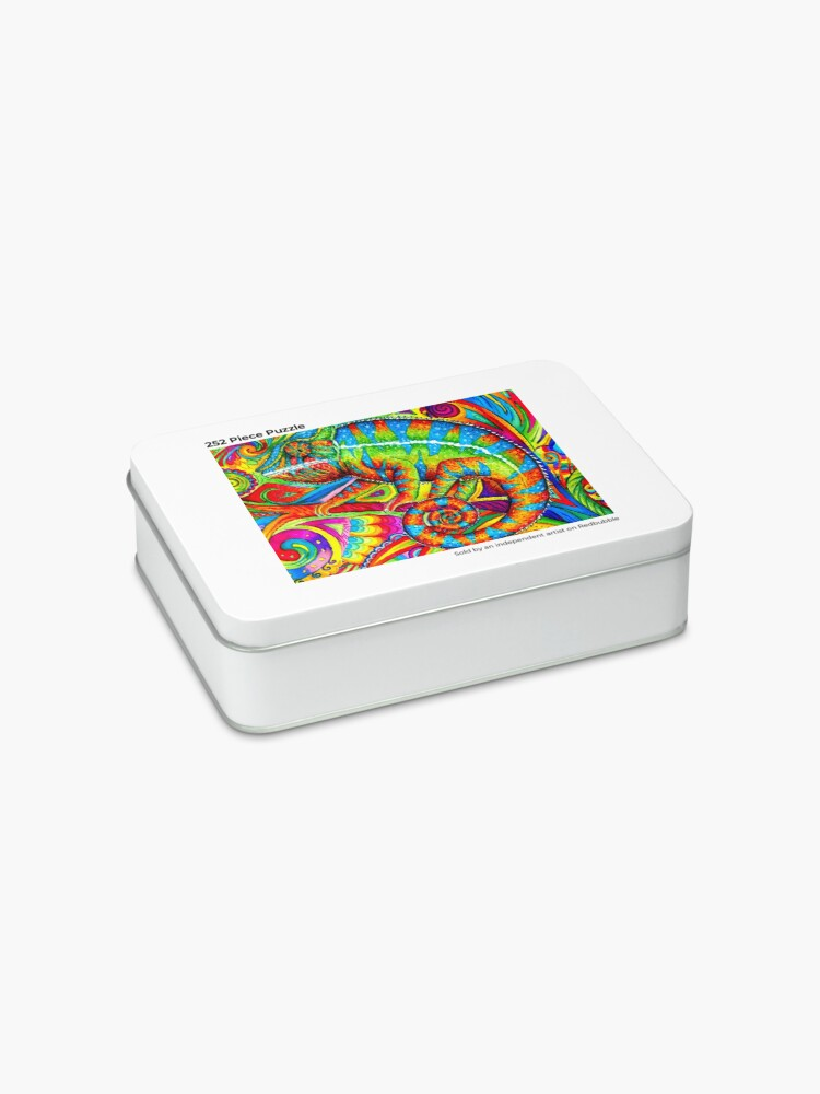 Alternate view of Psychedelizard Psychedelic Chameleon Colorful Rainbow Lizard Jigsaw Puzzle