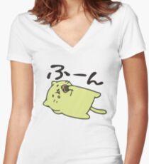 Lazy neko Women's Fitted V-Neck T-Shirt