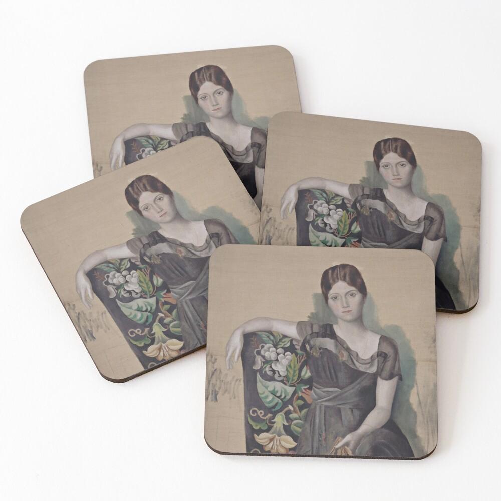 Portrait d'Olga dans un fauteuil (Olga in an Armchair) - Pablo Picasso Coasters (Set of 4)