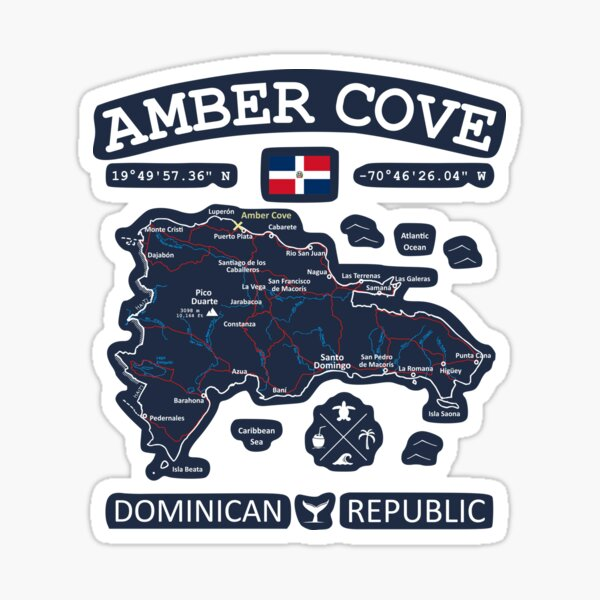 Dominican Republic Flag Travel Map Amber Cove Coordinates Roads Rivers and Oceans White Sticker