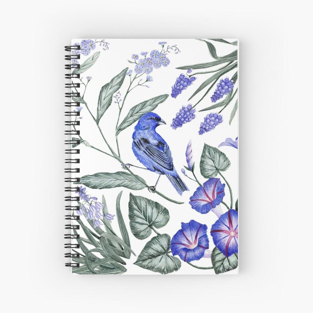 Indigo Bunting & Flowers Spiral Notebook