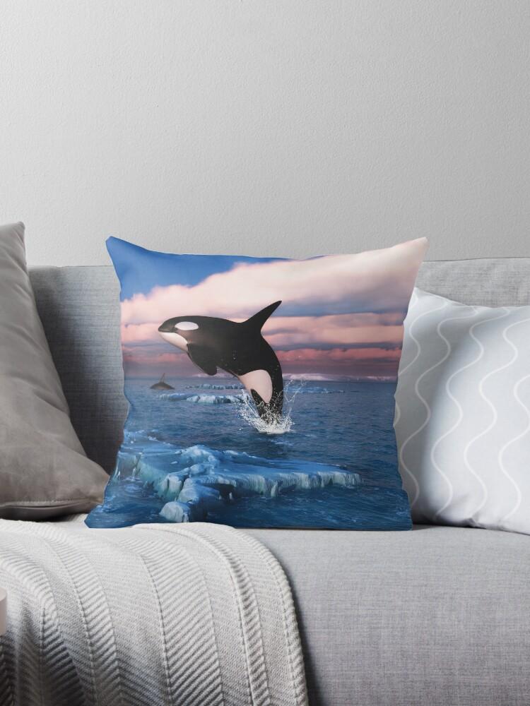 1397199831 CafePress Killer Whales In The Arctic Ocean Pillow Case