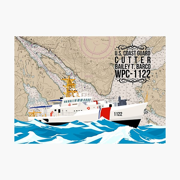 Chart Art - Coast Guard Cutter Bailey T Barco Photographic Print