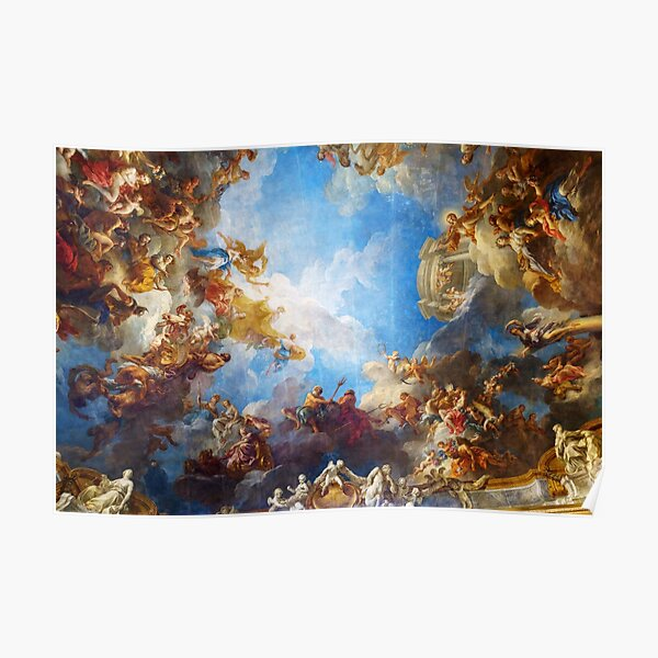 Ceiling painting in Hercules room of the Chateau de Versailles - France Poster