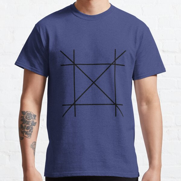Black Geometric Line Pattern Classic T-Shirt