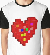 Pixel Red Heart Graphic T-Shirt