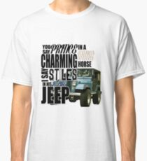 Stiles in a blue Jeep Classic T-Shirt