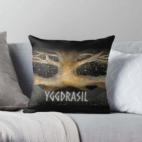 The World Tree Yggdrasil in the Stars Throw Pillow