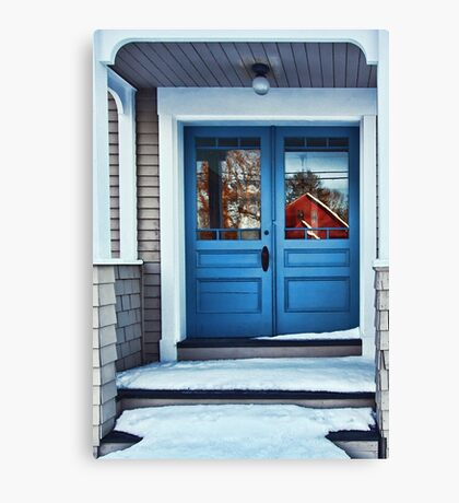 The Blue Doors - Reflections On a Cold Winters Day Canvas Print