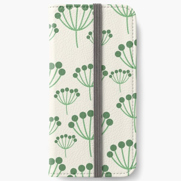 Green Floral iPhone Wallet