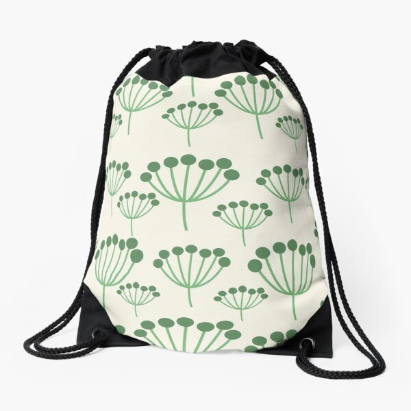 Green Floral Drawstring Bag