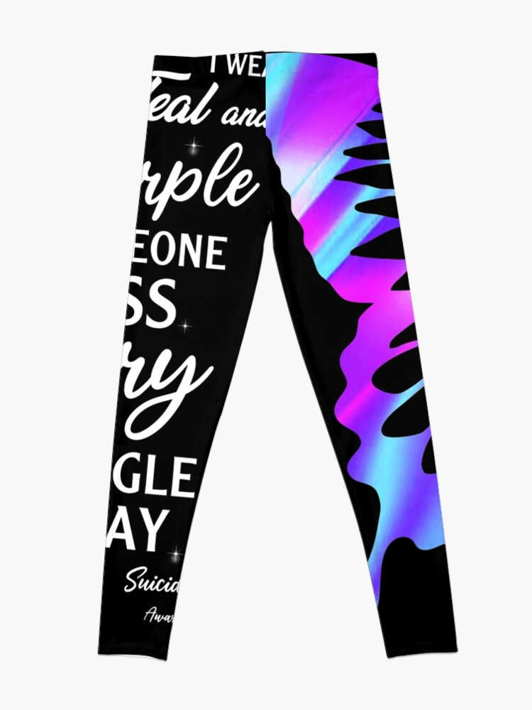 Alternate view of Best Wear Teal Purple Butterfly Suicide Prevention Shirt Memorial Awareness Month T Shirt Leggings