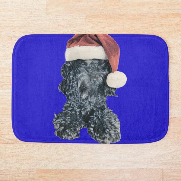 Cockapoo in a Christmas Santa Hat (Blue) Bath Mat