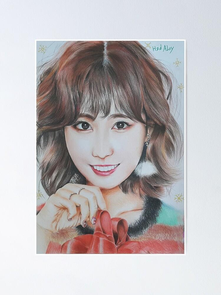 hirai momo colour pencil drawing art xszone poster by xszone redbubble