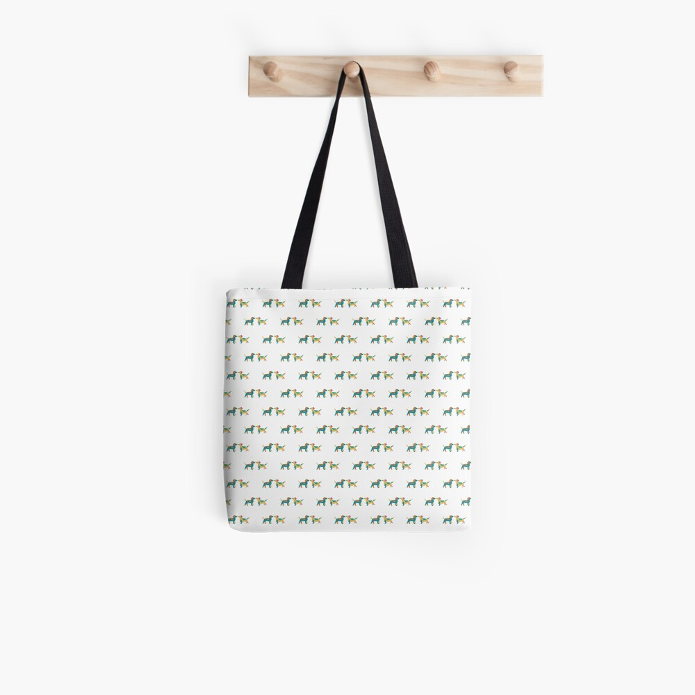 Paper Dogs Couple Pattern Tote Bag