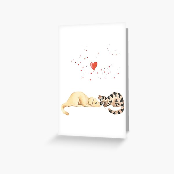 Dog & cat love Greeting Card