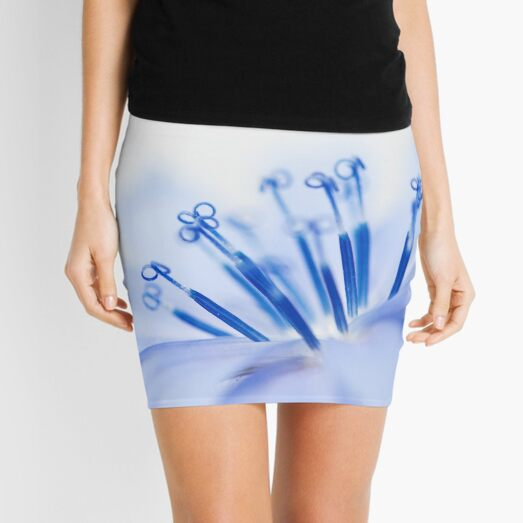 Light Blue Flower Macro Photography Mini Skirt