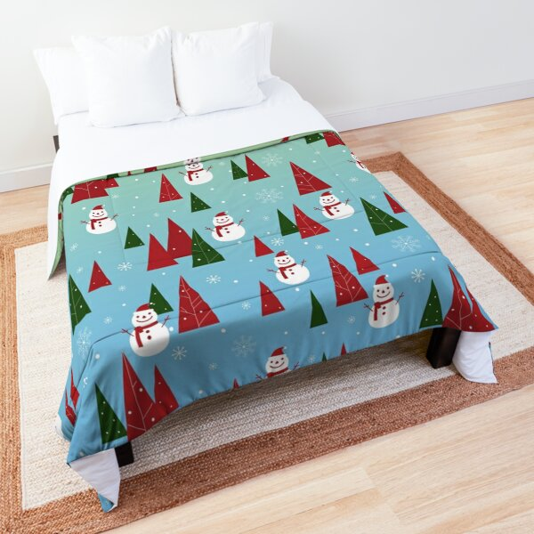 Christmas Pattern with Snowflakes, Snowman, Pine Trees Comforter