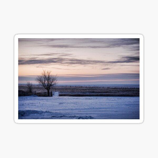 Snowy Kansas Prairie Sunrise Sticker