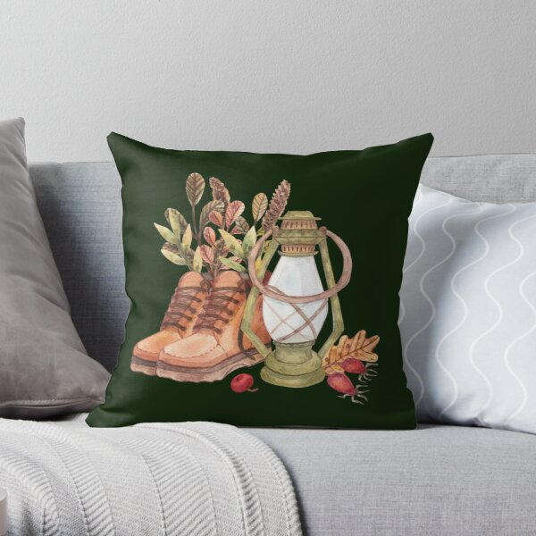 Autumn Mood. Hand-drawn atmospheric print. Throw Pillow