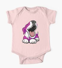 Laughing Bull Terrier White & Pink One Piece - Short Sleeve