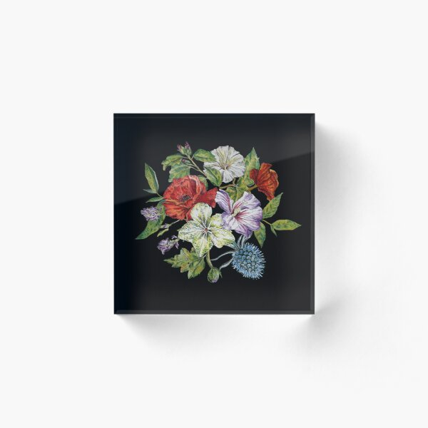 watercolor flowers on dark background Acrylic Block