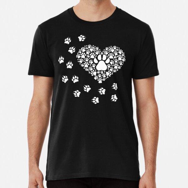 Paw prints around a heart Premium T-Shirt