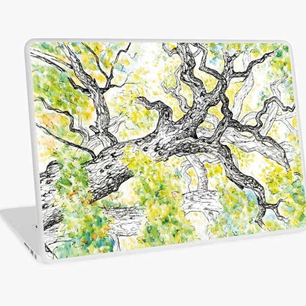 Watercolour and pen drawing of a beautiful tree  Laptop Skin