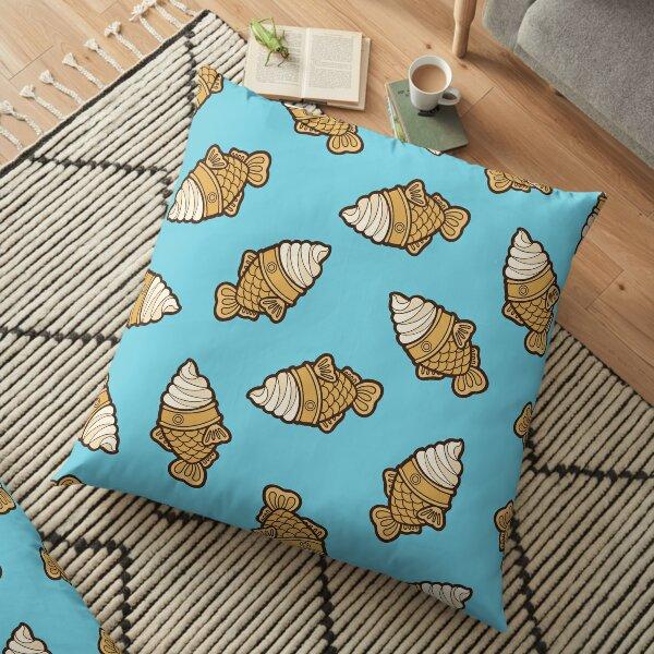 Taiyaki Icecream Fish Pattern on Blue Floor Pillow