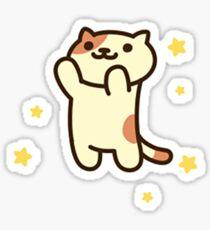 Peaches the cat + stars Sticker