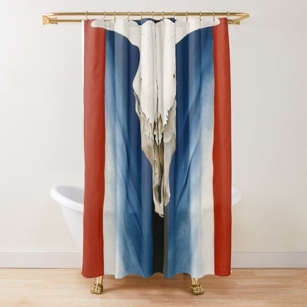 Georgia O'Keeffe Cow's Skull Red, White, and Blue Shower Curtain