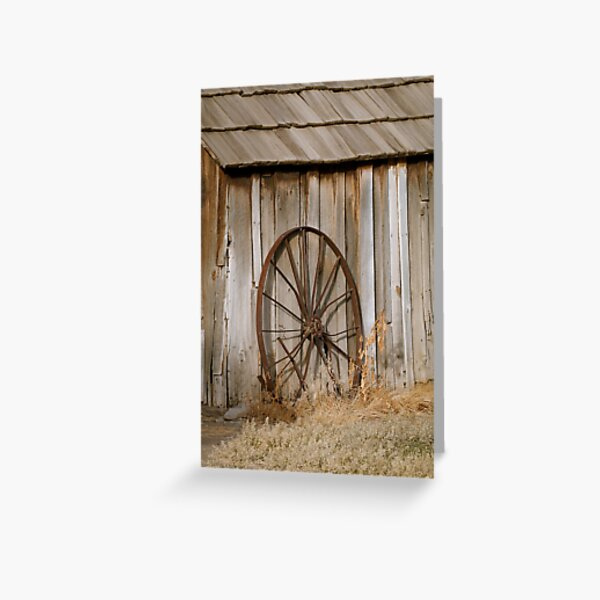 Old Wheel and Shed at Cant Ranch Greeting Card